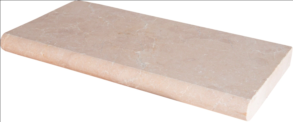 Aegean Pearl 16x24 Tumbled One Long Side Bullnose Pool Coping