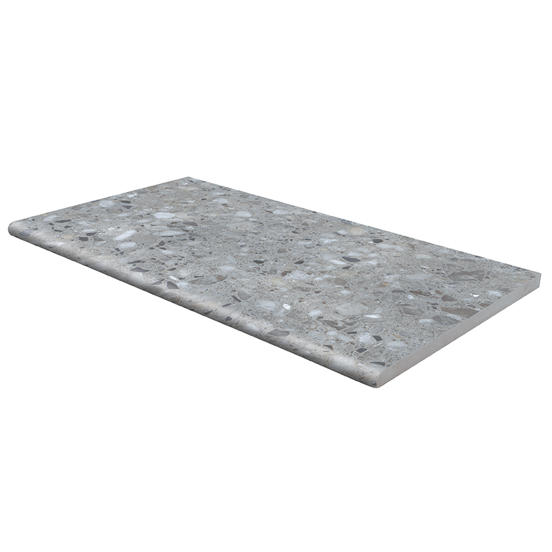 Arterra Terrazo Gris 13X24 One Long Side Bullnose Pool Coping