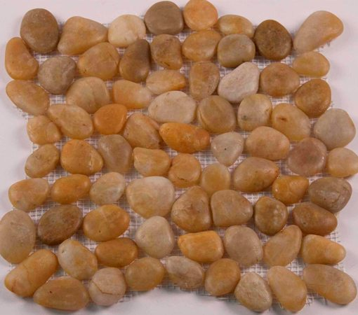 Gold Pebble 12x12 Polished Mesh Stone Tile