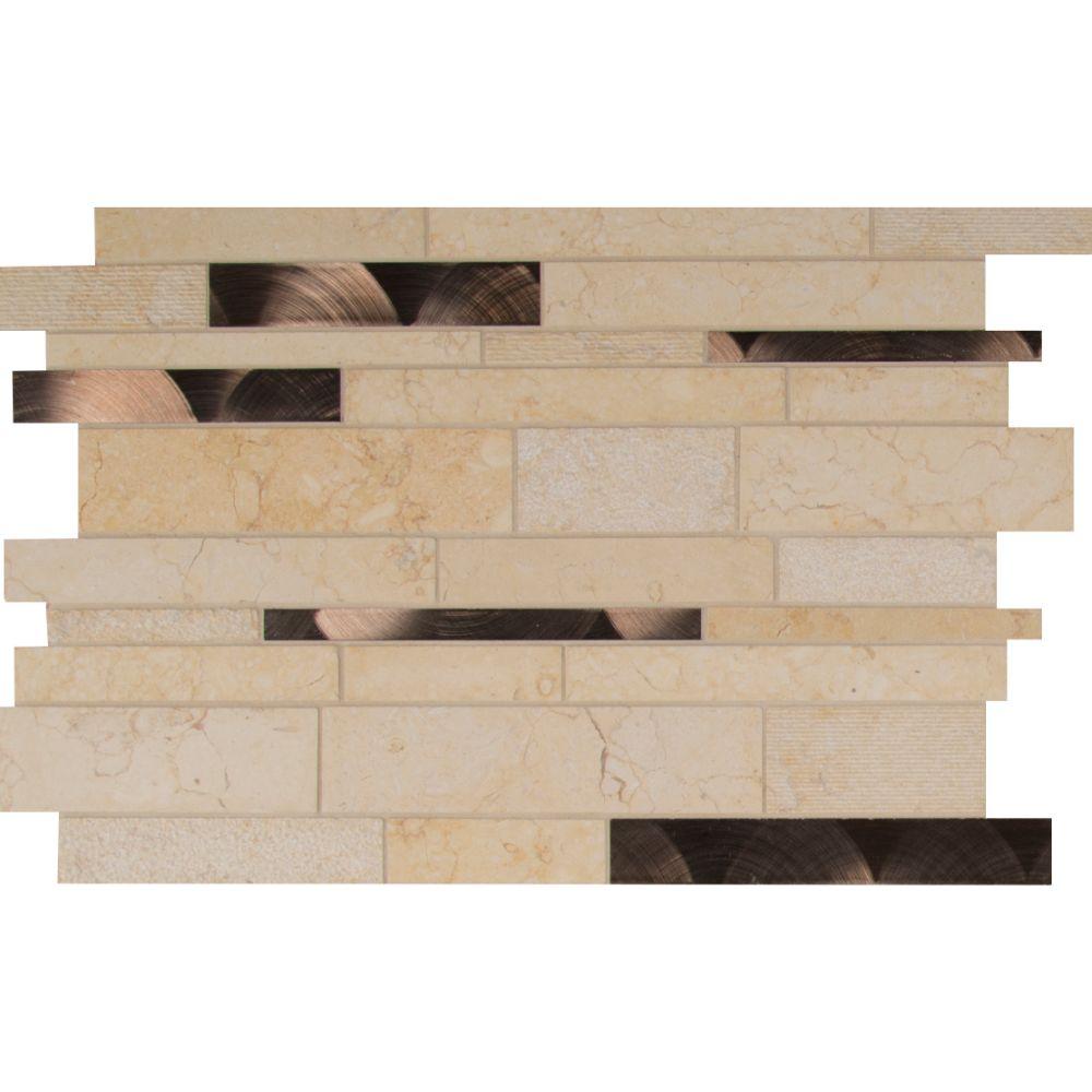 Cairo Blend Interlocking Pattern 8mm Stone Metal Mosaic Tile