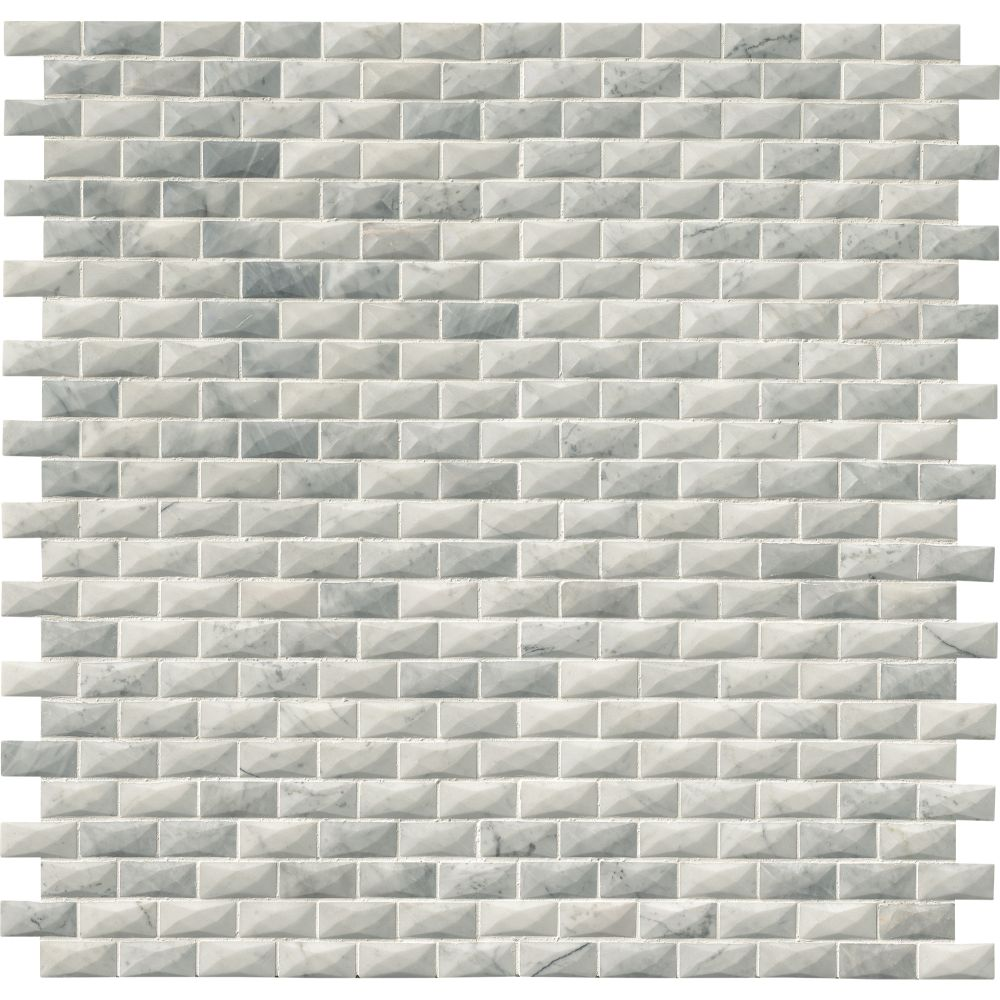 Carrara White 1x2 3D Polished Marble Mosaic