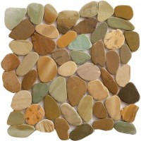 Golden Bali Mix 12X12 Interlocking Indonesia Flat Pebble Tile