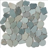 Jade Green Natural 12X12 Interlocking Indonesia Flat Pebble Tile