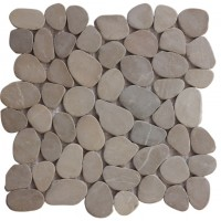 Tan Natural 12X12 Interlocking Indonesia Flat Pebble Tile