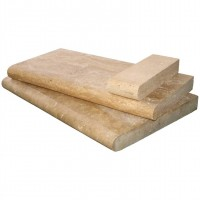 Tuscany Walnut 16x24 Honed Unfilled Brushed Double Bullnose Pool Coping
