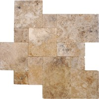 Walnut Rustico 16 Sft x 10 Kits Tumbled Travertine Paver