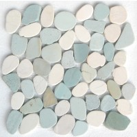 White & Green Mix Natural 12X12 Interlocking Indonesia Flat Pebble Tile