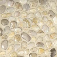 HD White 12X12 Polished Meshed Pebbles