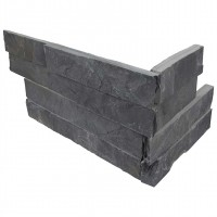 Premium Black 6X12X6 Split Face Corner Ledger Panel