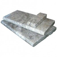 Silver Travertine 16x24 Honed Unfilled Brushed Eased Edges Pool Coping