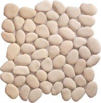 Timor White Rounded 12X12 Interlocking Indonesia Pebble Tile