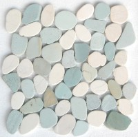 White & Green Mix Natural 12X12 Interlocking Indonesia Flat Pebble Tile