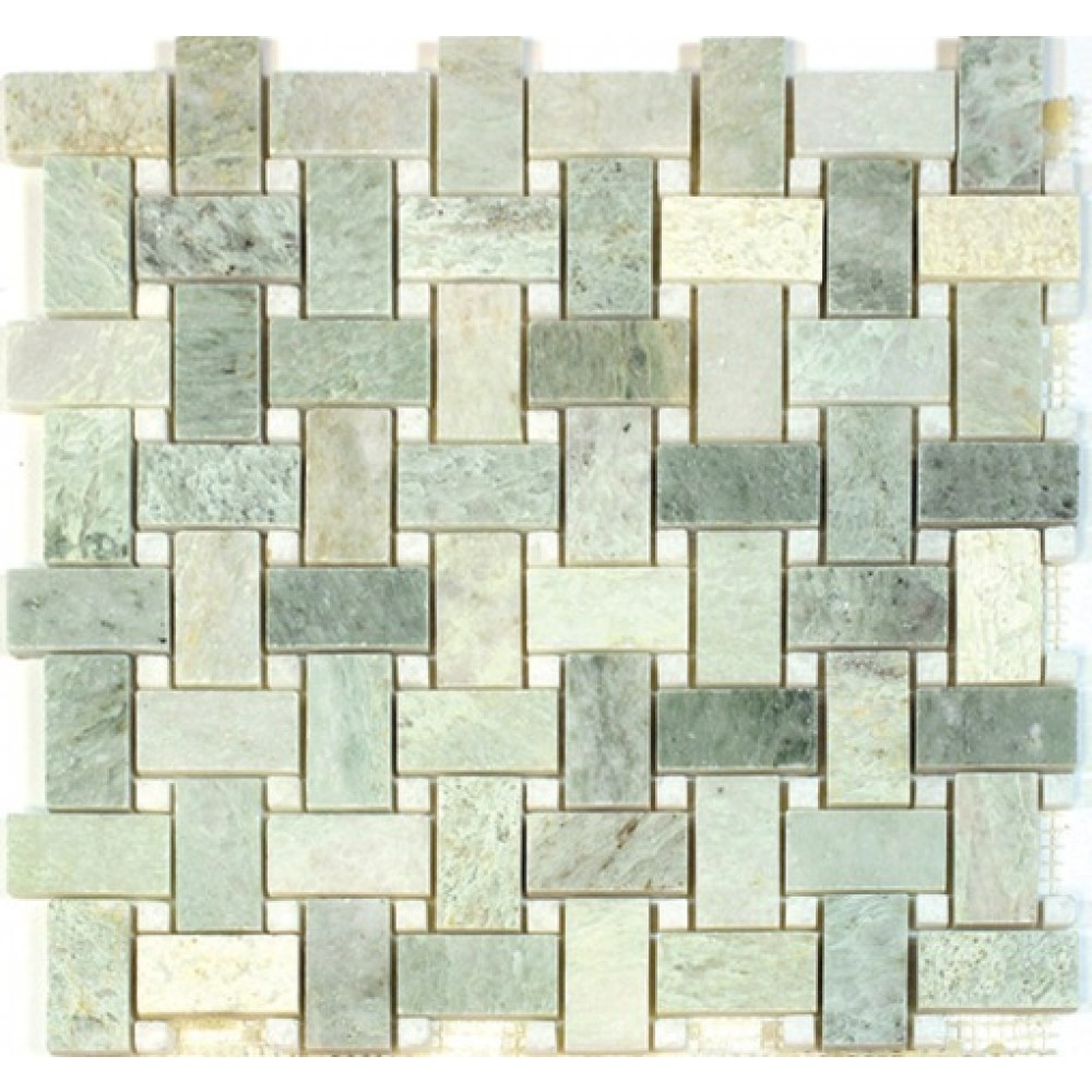 Ming Green 12x12 Polished Basketweave Mosaic