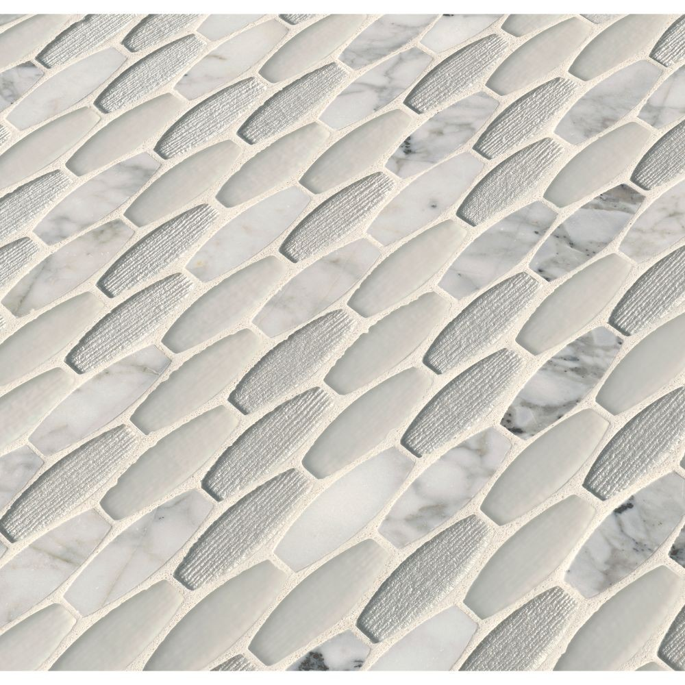 Ellia Blanco 12X12 Glass Stone Mesh Mounted Mosaic Tile