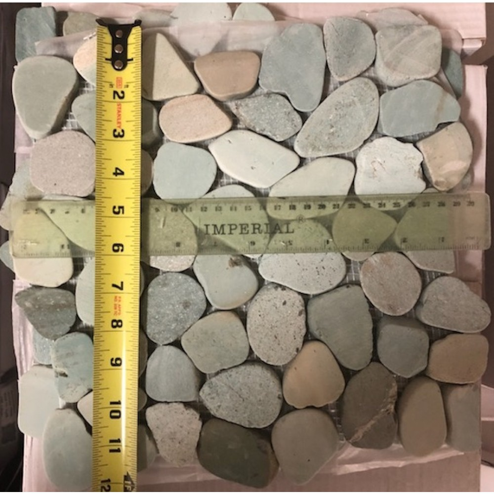 Jade Green Natural 12X12 Interlocking Indonesia Flat Pebble Tile
