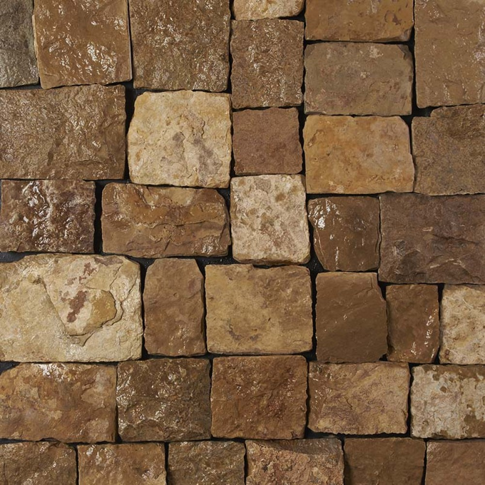 London Brown Natural Splitface Loose Veneers Corners-Wet