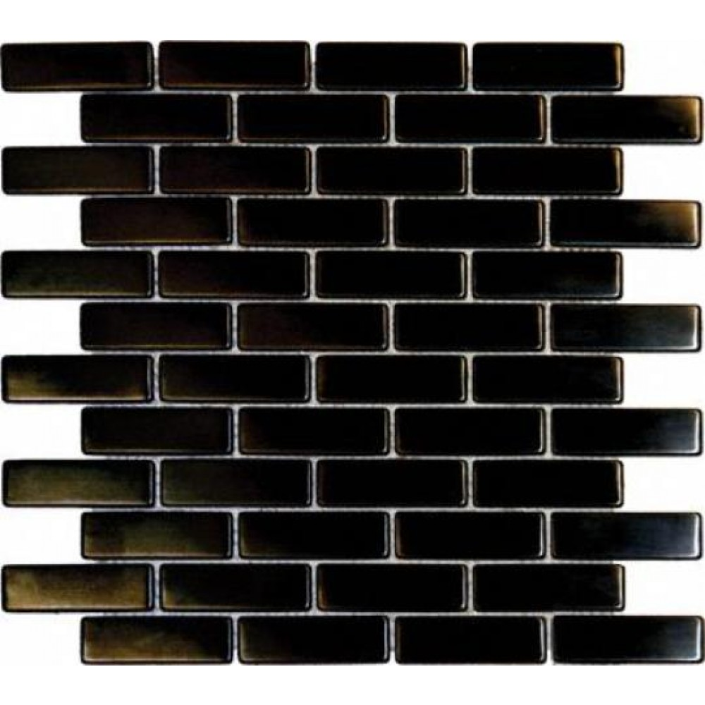 Metal Black Brick Matte 12X12 Metal