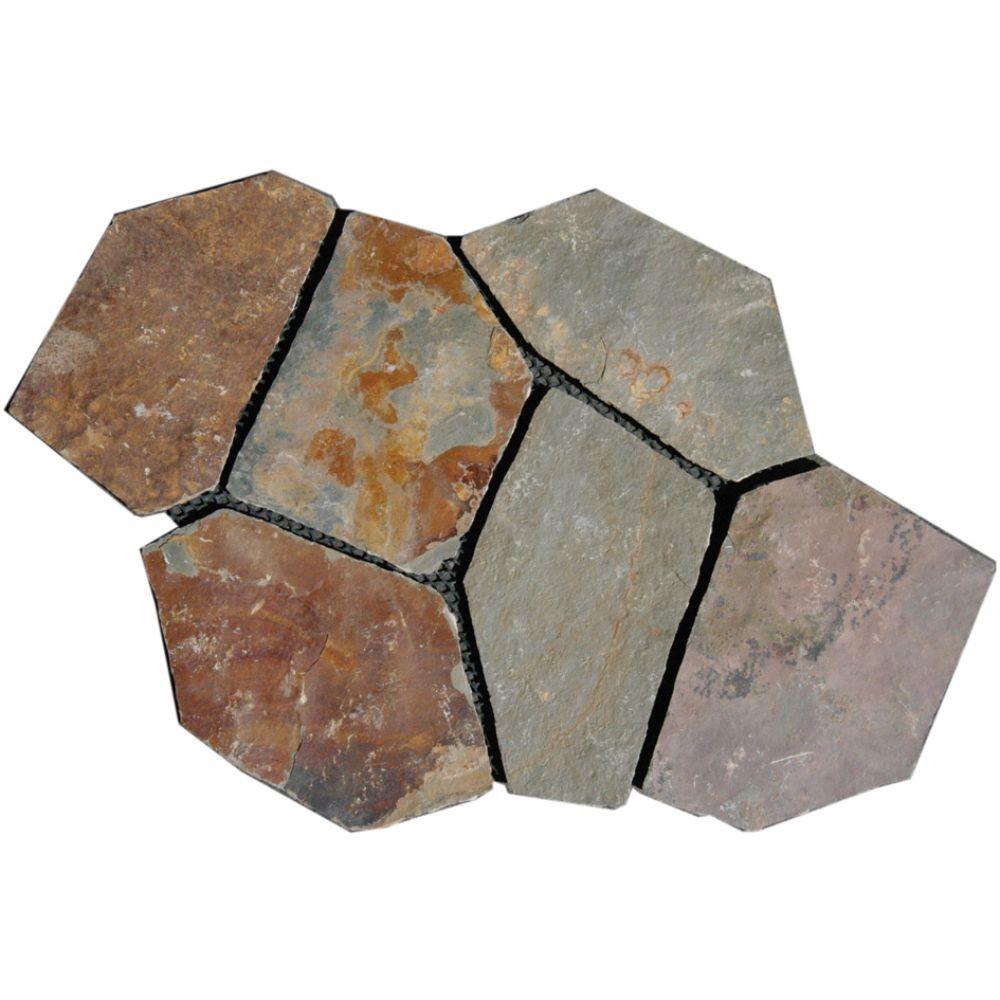 Santa Barbara 2.75 sq. ft. Natural Slate Meshed Flagstone Paver Tile