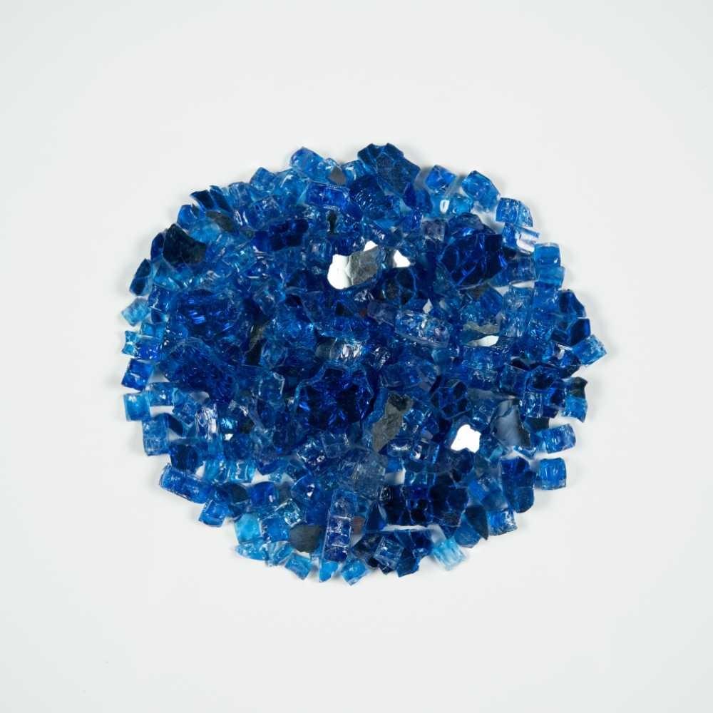 Sapphire Blue 1.27 CM 10 LBS Crystal Reflective Fireglass