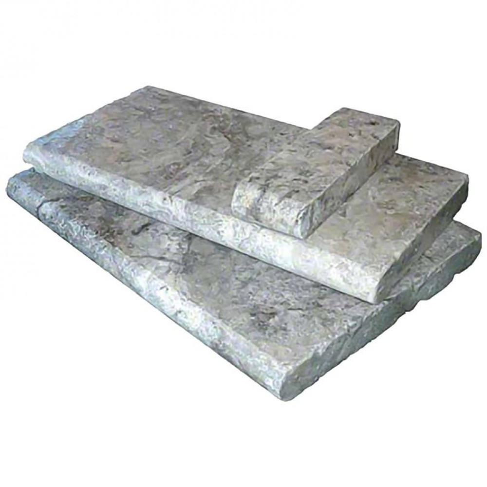Silver Travertine 12X24X3 Tumbled One Long Side Bullnose Pool Coping