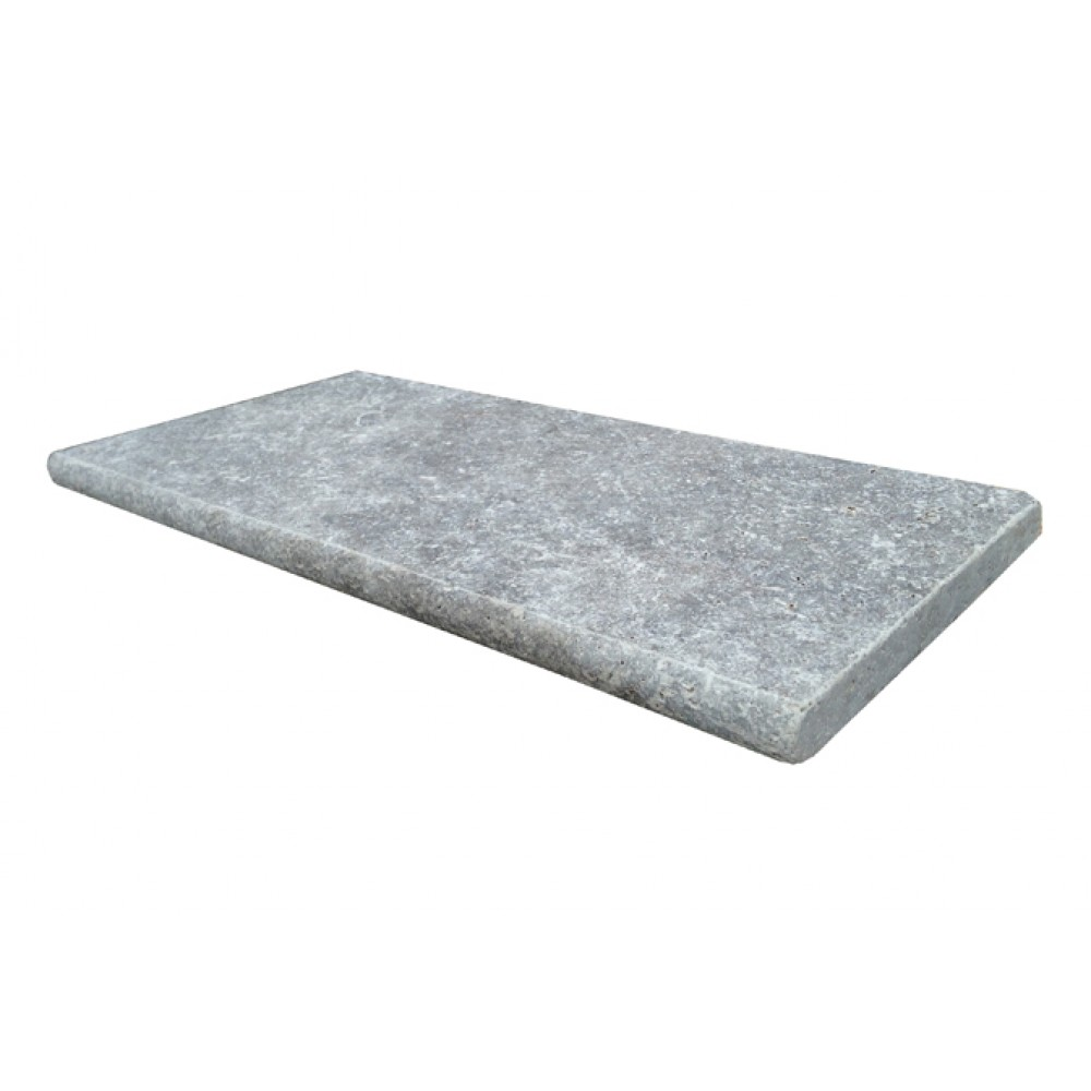 Silver Travertine 4X12 Honed Unfilled One Short Side Bullnose Pool Coping