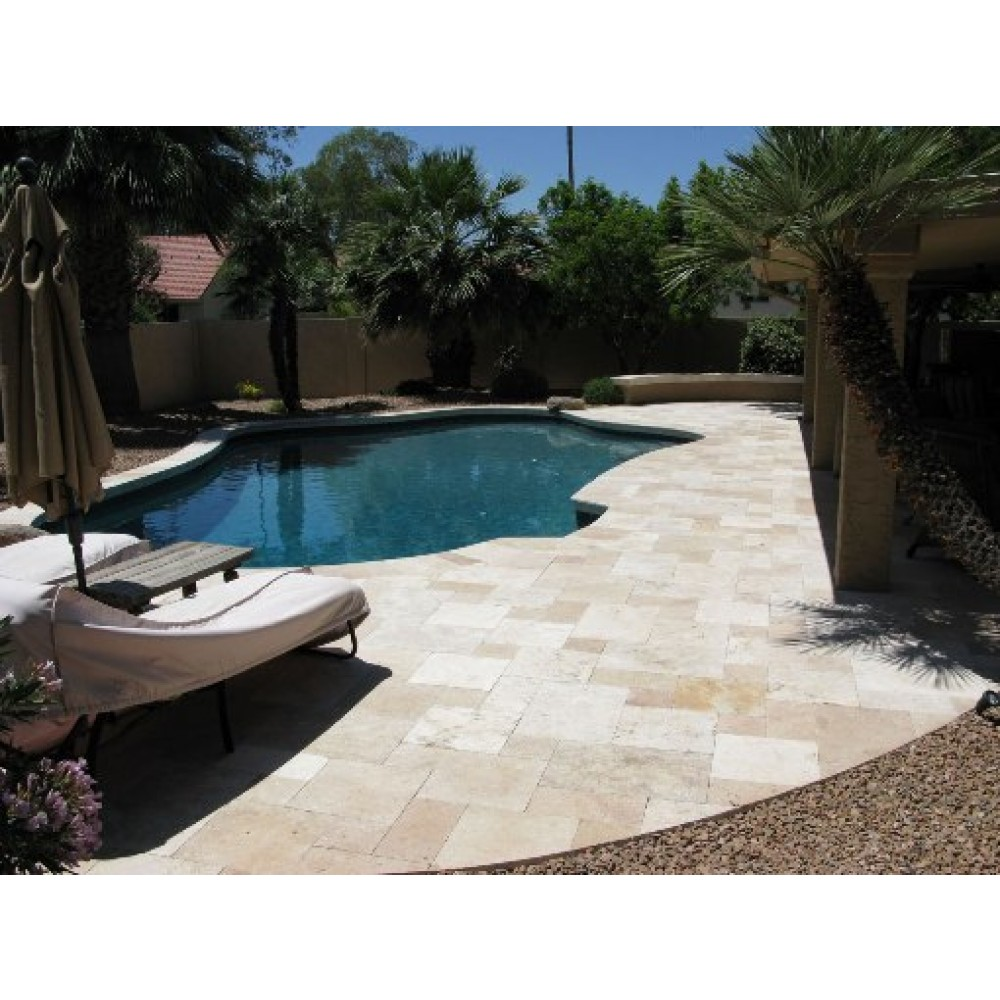 Tuscany Beige 6X12 Tumbled Travertine Paver