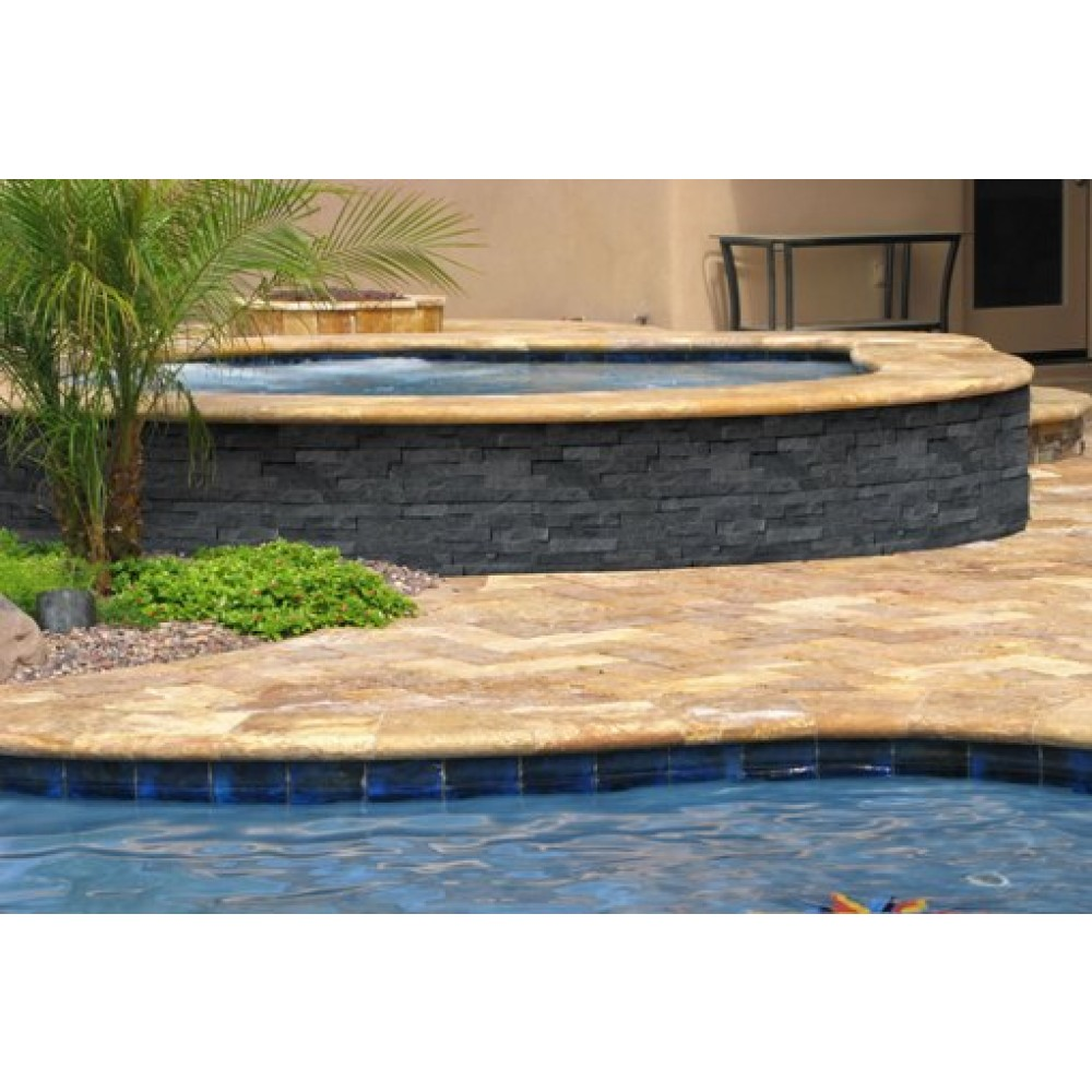Tuscany Porcini 12X24 Honed Unfilled Brushed One Long Side Bullnose Pool Coping