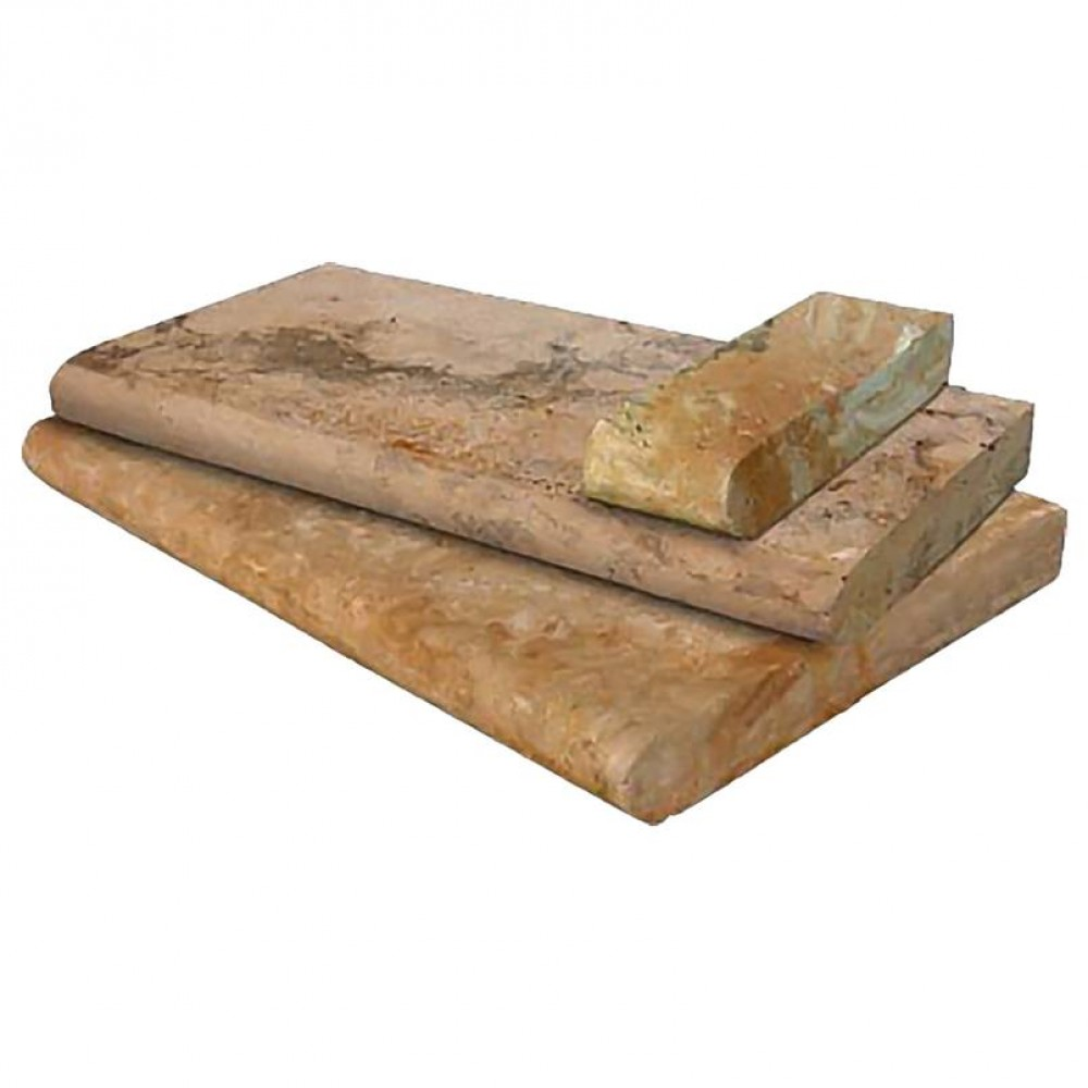 Tuscany Porcini 6x12x1.2 Honed Unfilled One Short Side Bullnose Pool Coping