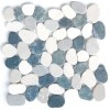 White & Grey Mix Natural 12X12 Interlocking Indonesia Flat Pebble Tile