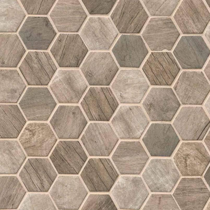 Driftwood Hexagon Pattern Recycled Glass Mosaic