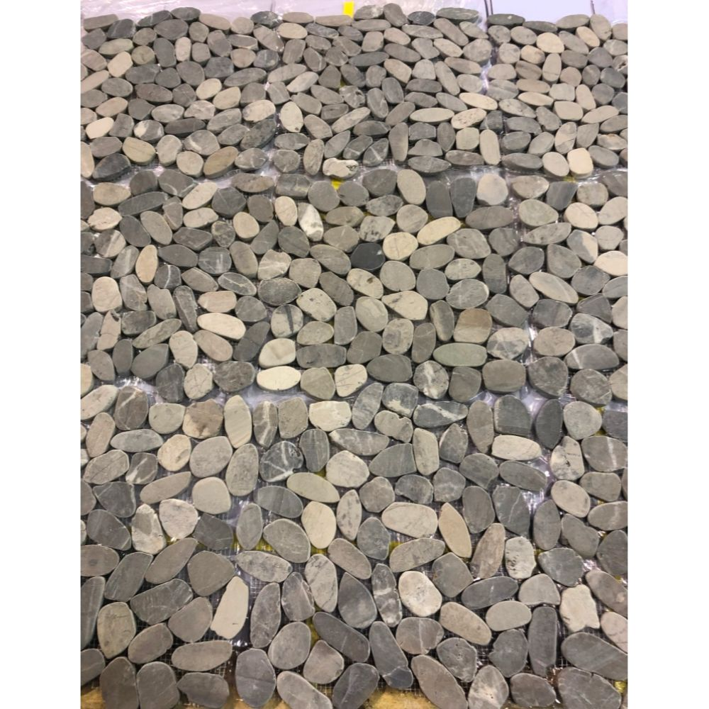 Fancy Grey 12X12 Interlocking Flat Pebble Tile