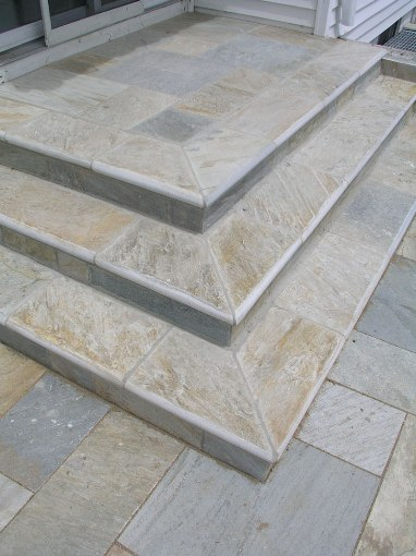 Golden White 4X12 Natural Cleft One Short Side Bullnose Pool Coping