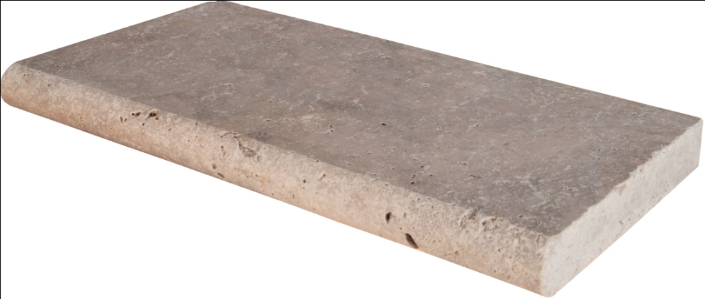 Silver Travertine 12X24X1.2 Tumbled Bullnose Pool Coping
