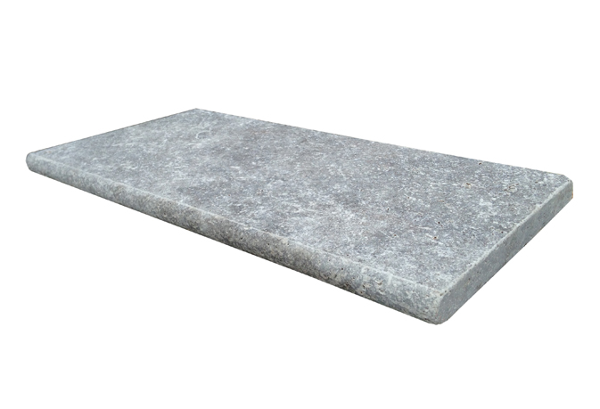 Silver Travertine 16X24 Honed Unfilled Brushed Double BullNose Pool Coping