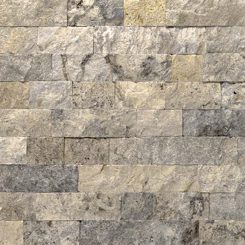 Silver Travertine Random Loose Split Face Veneer Panels-Wet