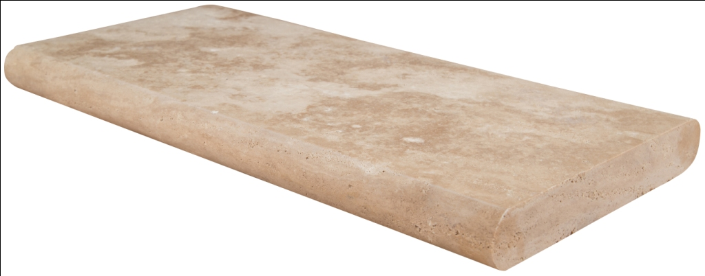 Tuscany Beige 12X24 Honed Unfilled Brushed Double Bullnose Pool Coping