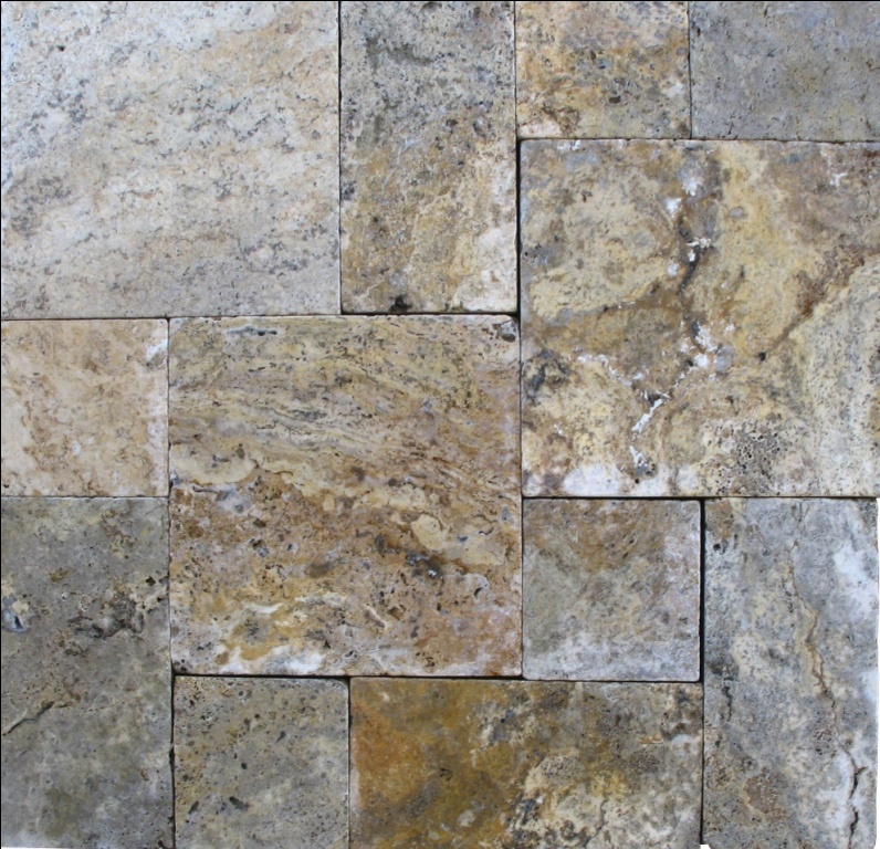 Tuscany Scabas French Pattern 16 Sft x 10 Kits Honed Unfilled Tumbled Paver