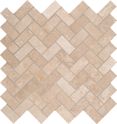 Tuscany Ivory 12X12 Honed Herringbone Travertine Mosaic