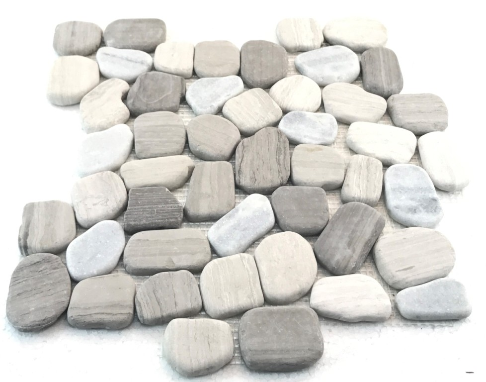 Wood Age 12X12 Interlocking Flat Pebble Tile