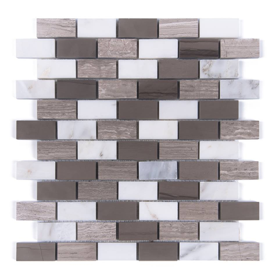 Wooden Brick Oriental White 1x2 Honed Mosaic