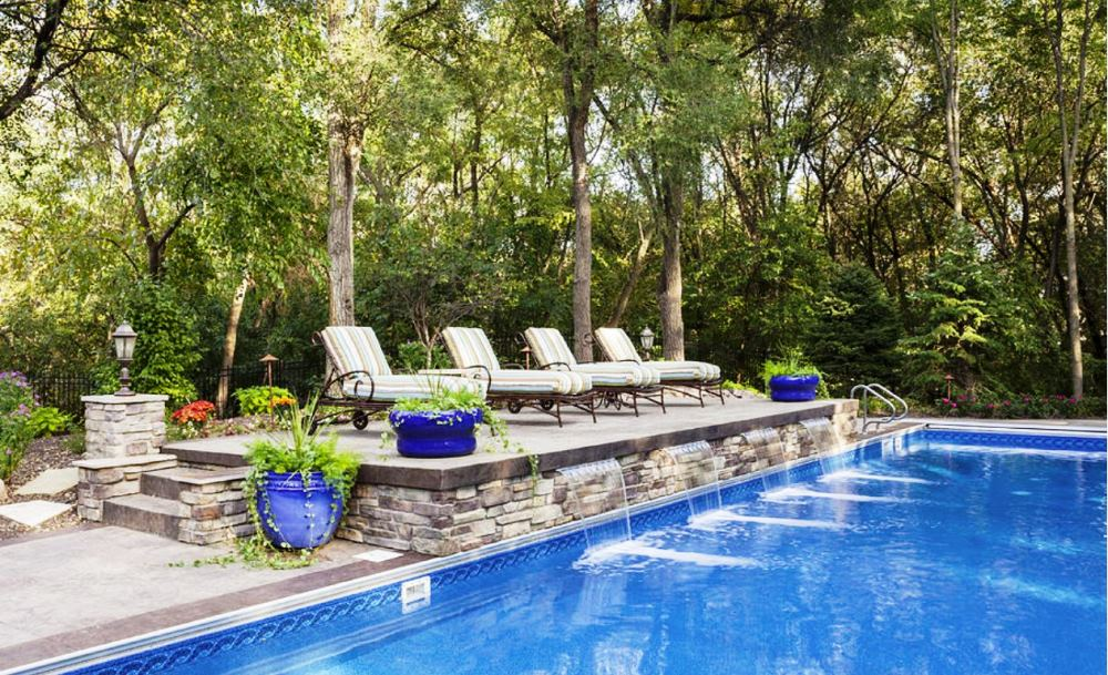 how to design a pool and waterfall with stacked stone